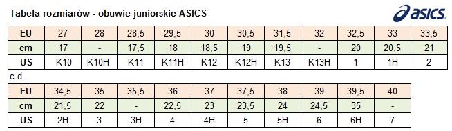 tabela rozmiarów asics damskie